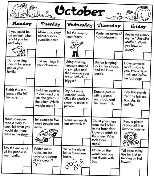 October Claendar