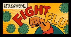 Powerful fist fighting the flu