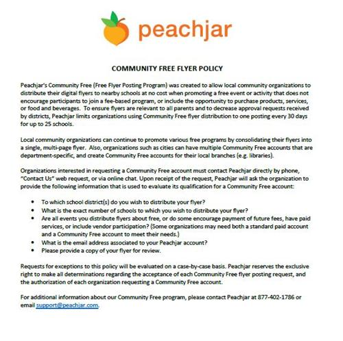 peachjar e flyer peachjar community free flyer policy