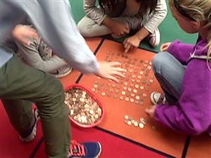 Counting pennies with my group...